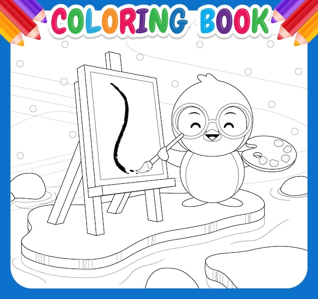 Coloring book for kids happy cute penguin painting