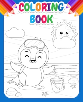 Coloring book for kids happy cute penguin prepare to diving