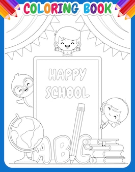 Coloring book for kids. happy school children and penguin