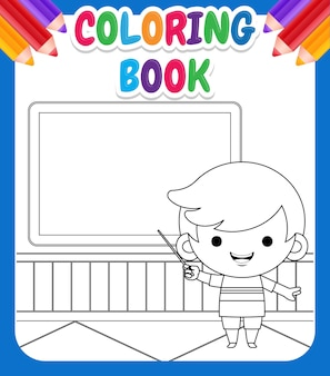 Coloring book for kids.  illustration cute boy teaching alphabet in front of chalk board with a pointer
