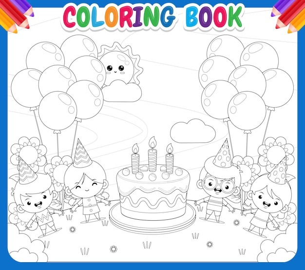 Coloring book for kids kids party with big birthday cake