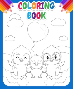 Coloring book for kids. lovely cute penguin family cartoon
