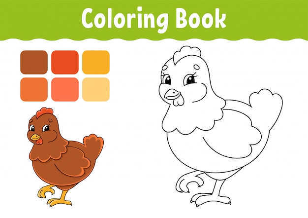 Coloring book for kids. lovely hen. cheerful character. cute cartoon style.