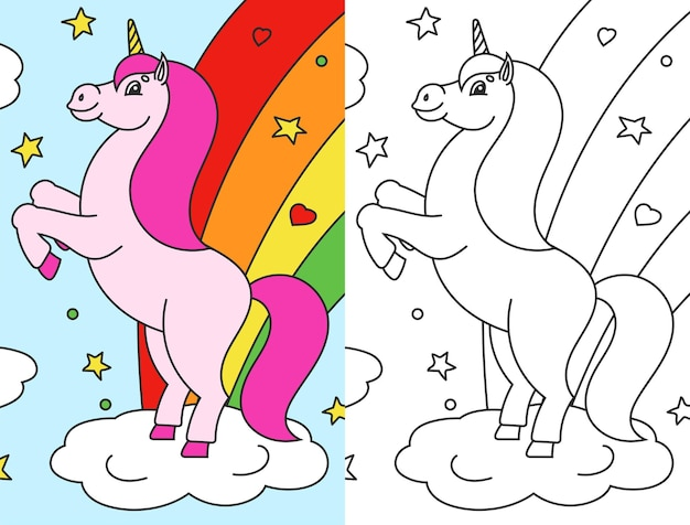Coloring book for kids the magical unicorn reared up