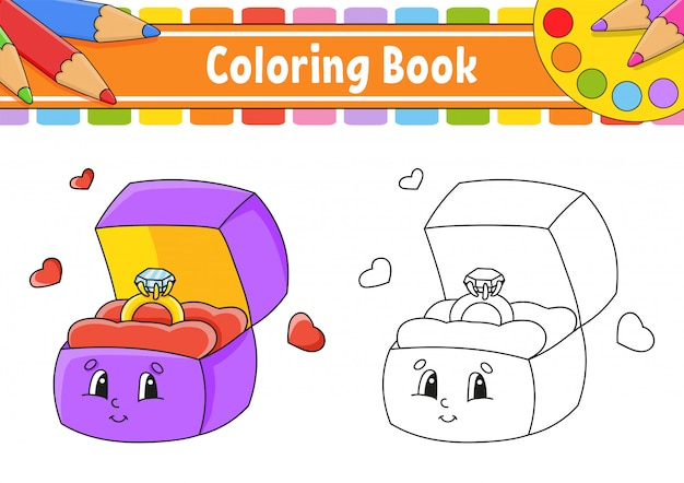 Coloring book for kids. open box with a gold ring. cartoon character.