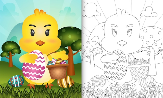 Coloring book for kids themed happy easter day with character illustration