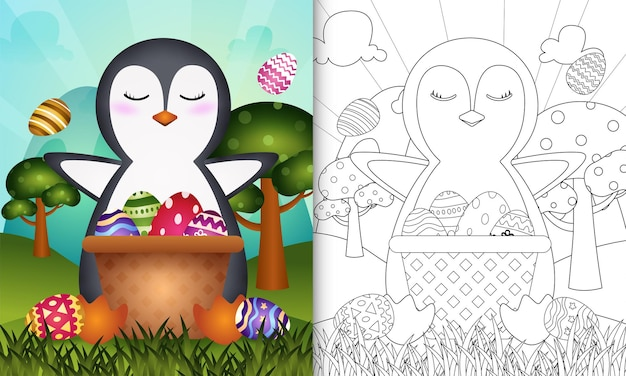 Coloring book for kids themed happy easter day with penguin in the bucket egg