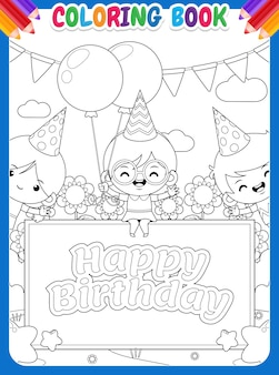 Coloring book for kids. three happy children with birthday banner