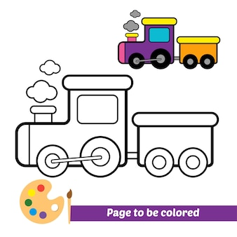 Coloring book for kids train vector
