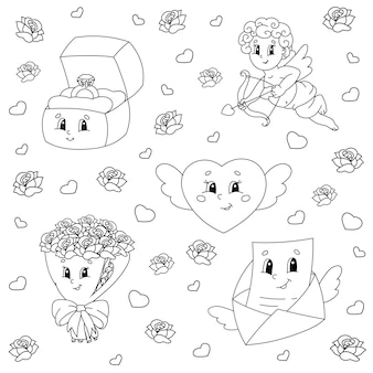 Coloring book for kids valentines day clipart