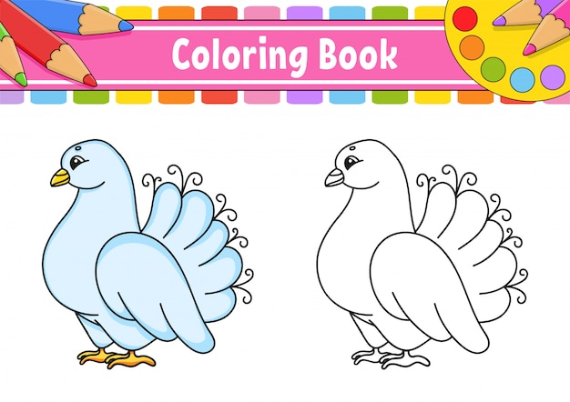 Coloring book for kids. wedding white pigeon. cartoon character.