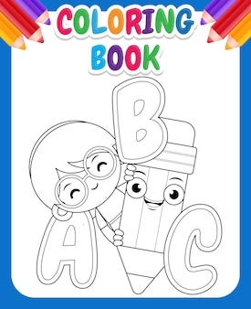 Coloring book for kids with cartoon cute girl holding pencil with alphabet