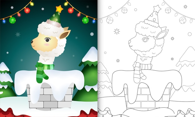 Coloring book for kids with a cute alpaca using hat and scarf in chimney