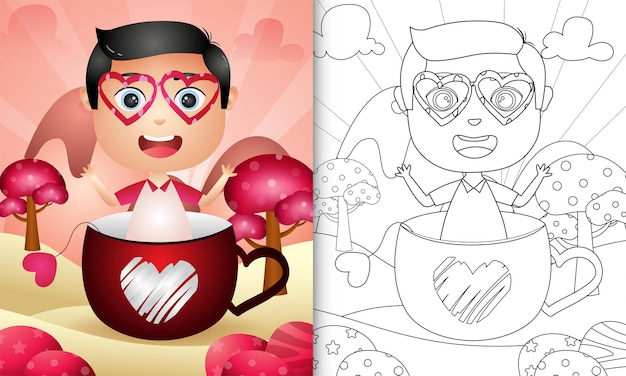 Coloring book for kids with a cute boy in the cup themed valentine day