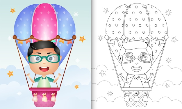 Coloring book for kids with a cute boy on hot air balloon