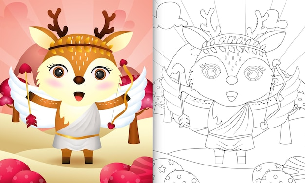 Coloring book for kids with a cute deer angel using cupid costume themed valentine day