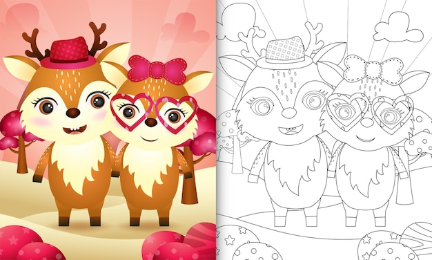 Coloring book for kids with a cute deer couple themed valentine day