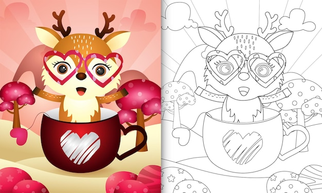 Coloring book for kids with a cute deer in the cup themed valentine day