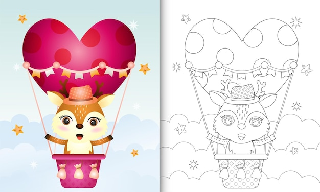 Coloring book for kids with a cute deer on hot air balloon love themed valentine day