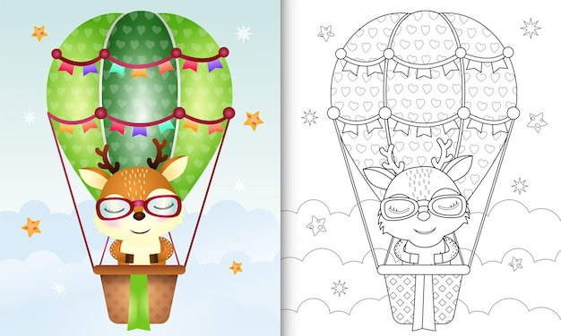 Coloring book for kids with a cute deer on hot air balloon