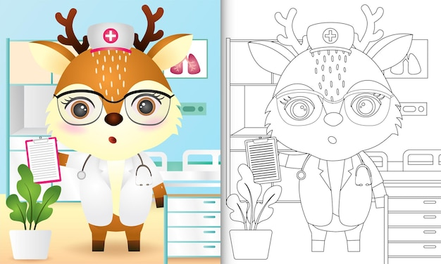 Coloring book for kids with a cute deer nurse character illustration