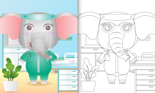 Coloring book for kids with a cute elephant character