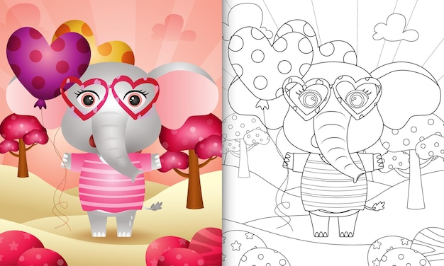 Coloring book for kids with a cute elephant holding balloon themed valentine day
