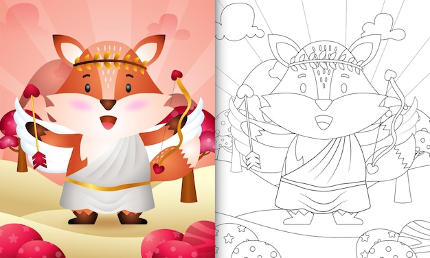 Coloring book for kids with a cute fox angel using cupid costume themed valentine day