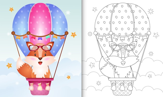 Coloring book for kids with a cute fox on hot air balloon