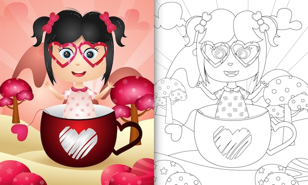 Coloring book for kids with a cute girl in the cup themed valentine day