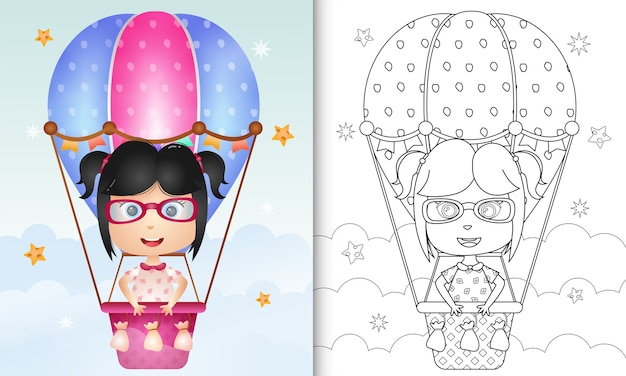 Coloring book for kids with a cute girl on hot air balloon