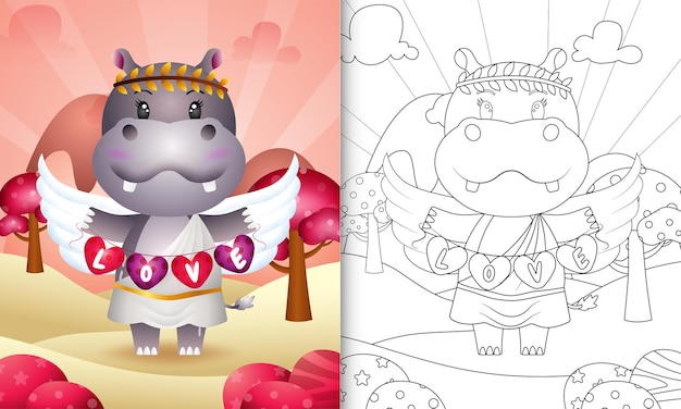 Coloring book for kids with a cute hippo angel using cupid costume holding heart shape flag