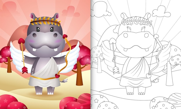 Coloring book for kids with a cute hippo angel using cupid costume themed valentine day
