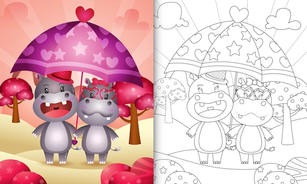 Coloring book for kids with a cute hippo couple holding umbrella themed valentine day