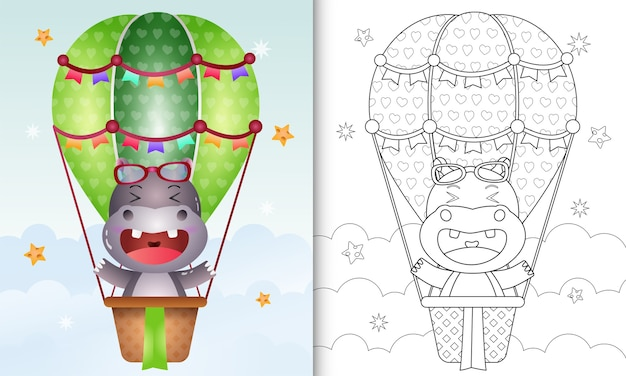 Coloring book for kids with a cute hippo on hot air balloon