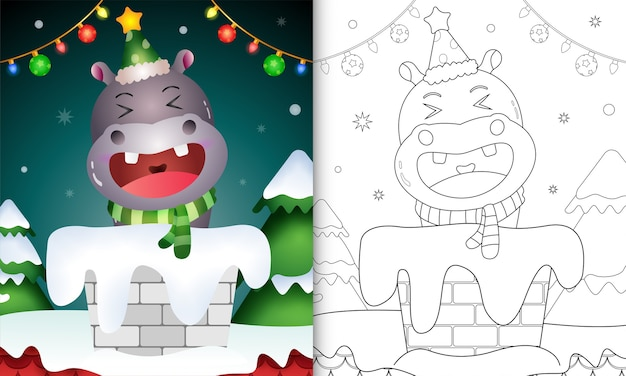 Coloring book for kids with a cute hippo using santa hat and scarf in chimney