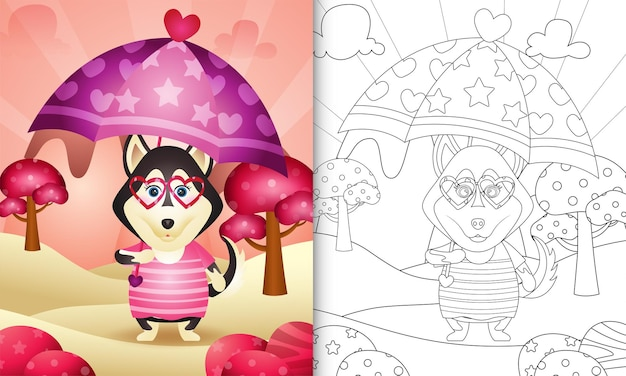 Coloring book for kids with a cute husky dog holding umbrella themed valentine day