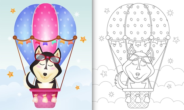 Coloring book for kids with a cute husky dog on hot air balloon