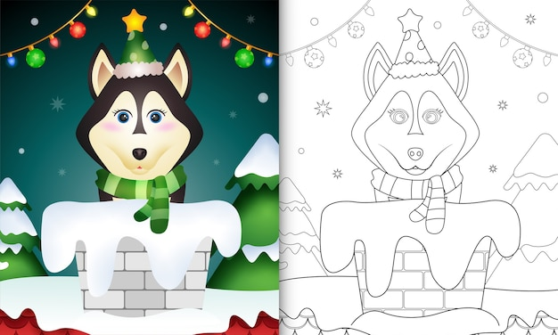 Coloring book for kids with a cute husky dog using hat and scarf in chimney