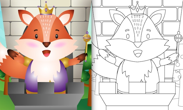 Coloring book for kids with a cute king fox character illustration