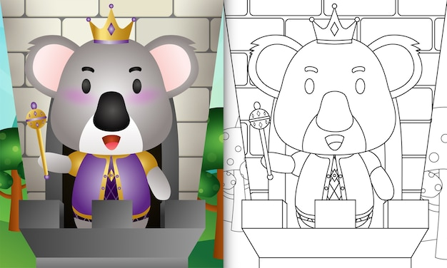 Coloring book for kids with a cute king koala character illustration