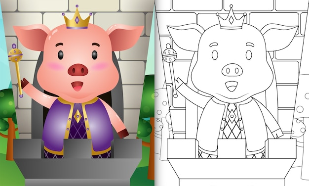 Coloring book for kids with a cute king pig character illustration