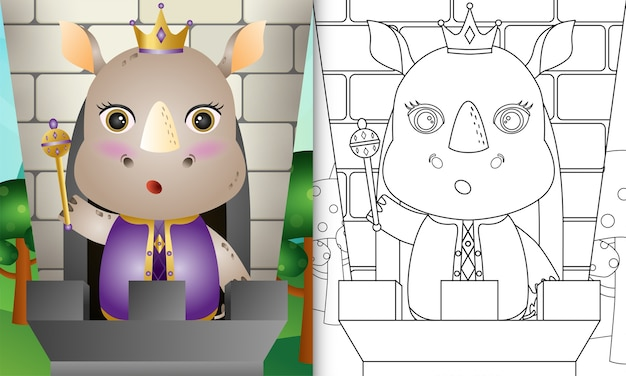 Coloring book for kids with a cute king rhino character illustration