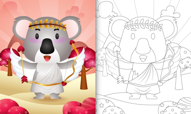 Coloring book for kids with a cute koala angel using cupid costume themed valentine day