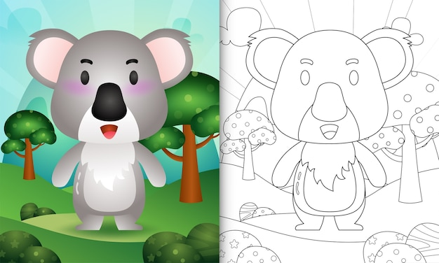 Coloring book for kids with a cute koala character illustration