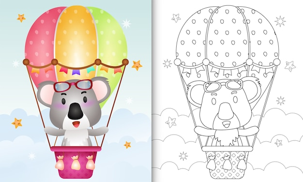 Coloring book for kids with a cute koala on hot air balloon