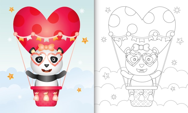 Coloring book for kids with a cute panda female on hot air balloon love themed valentine day