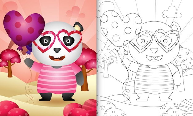 Coloring book for kids with a cute panda hugging heart themed valentine day