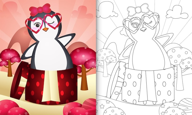 Coloring book for kids with a cute penguin in the gift box themed valentine day