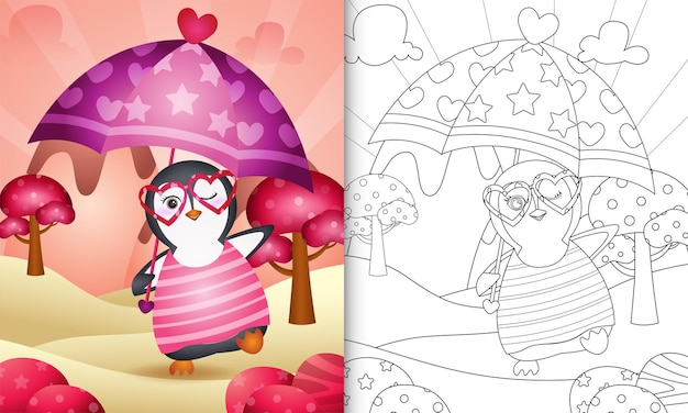 Coloring book for kids with a cute penguin holding umbrella themed valentine day